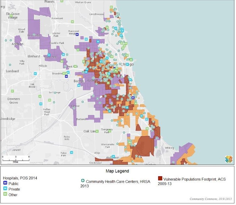 Map showing Chicago metro places where greater than 25 percent of the population does not have a high school diploma, where greater than 30 percent of the population is below the poverty level, and areas where both of those conditions co-exists