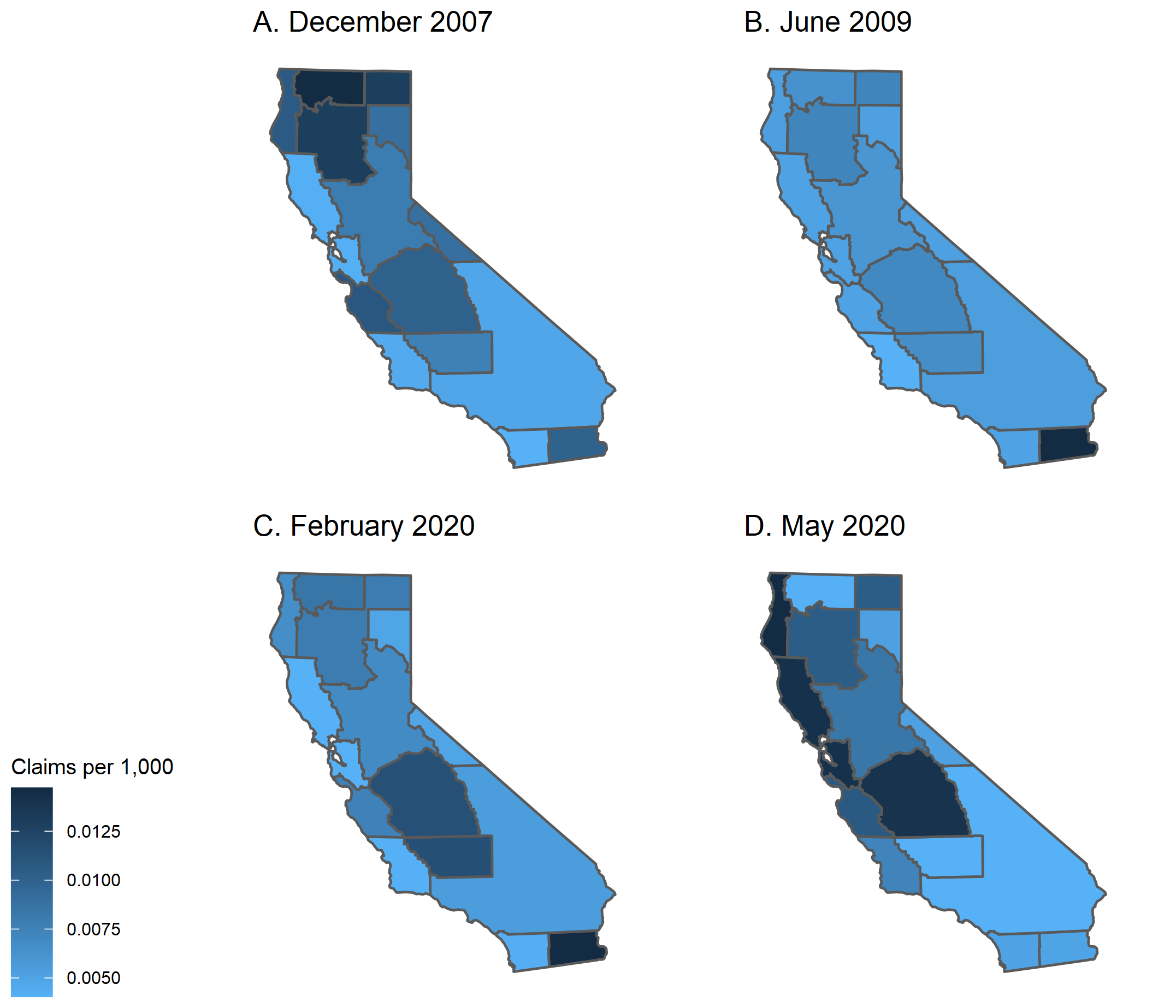 Figure 1 shows heat maps for the level of initial unemployment insurance claims per 1,000 residents for metro areas within California for the months corresponding to the start and end of the 2007–09 recession and the start of the current recession and May 2020. There is a large degree of heterogeneity across metro areas—both across and within the two different recessions.
