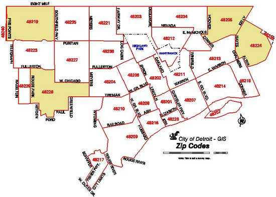 Detroit Zip Code Map Federal Reserve Bank of Chicago Detroit Zip Code Map