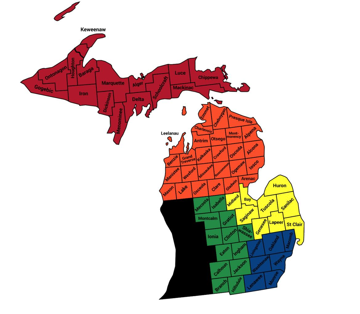 Michigan counties by region