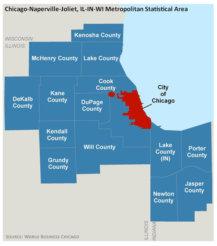 Map of Chicago and surrounding areas