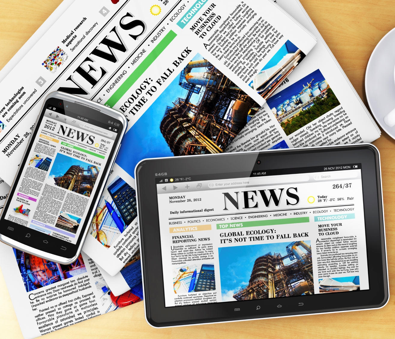 image of newspapers and digital tablet