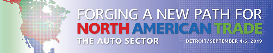 Forging a New Path for North American Trade: The Auto Sector banner. Features an icon map of North America.