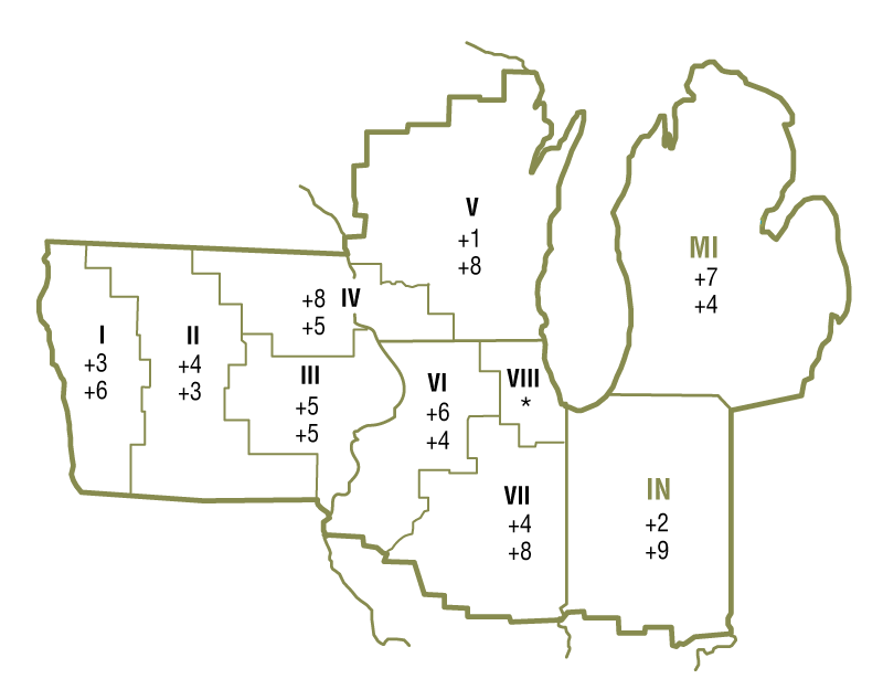 The map shows quarterly and year-over-year percent changes in farmland values for geographical areas within the Seventh Federal District. There were insufficient survey responses from certain areas, so changes in farmland values are unavailable for these geographical areas.