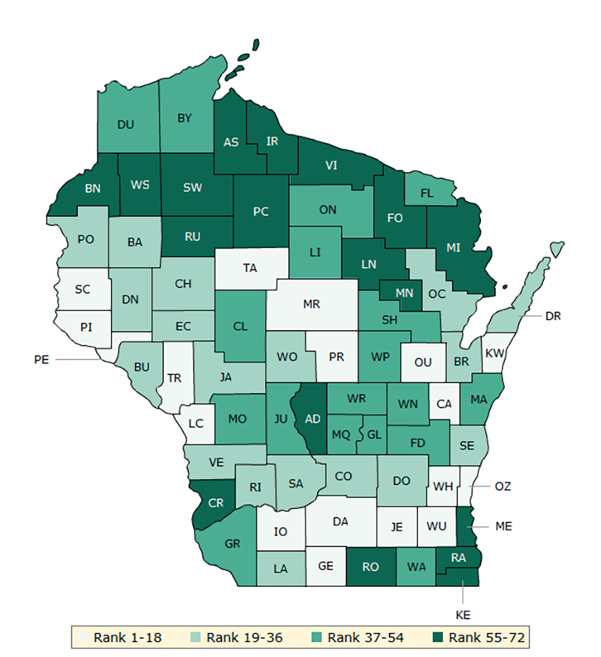 Map 1. Overall rankings in health outcomes (Wisconsin)