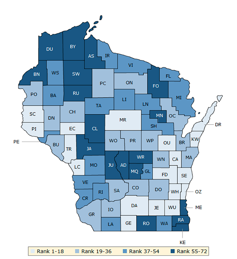 Map 2. Overall rankings in health factors (Wisconsin)