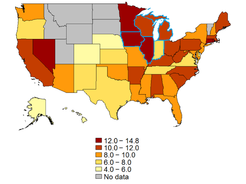Map 1. Unemployment rate of blacks in the United States and states in the Seventh District, 2015