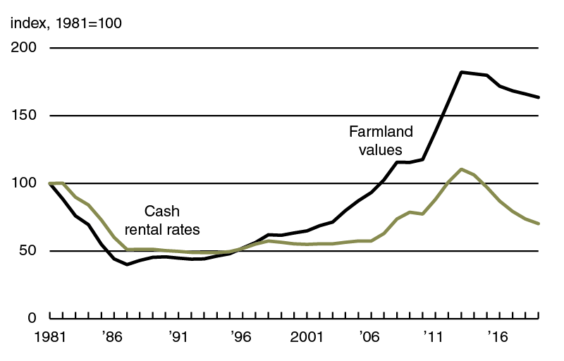 Even though the current streak of decreasing real cash rental rates is the longest one on record in the survey, the District's index of inflation-adjusted cash rental rates fell by more in percentage terms during the 1980s.