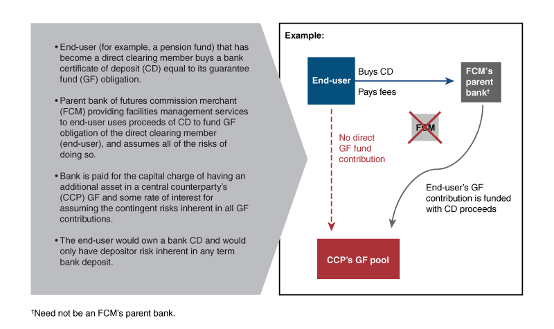 An illustration of the alternate process for end-user that has become a direct clearing member to meet its guarantee fund obligation.